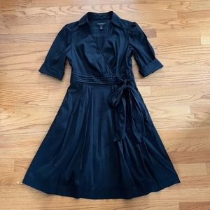 WHBM Black Fit & Flare Shirt Dress, Sz 4